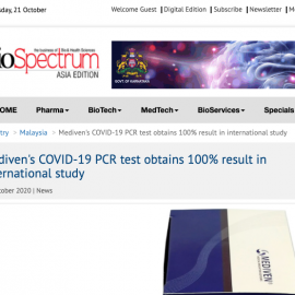 Mediven's COVID-19 PCR Test Obtains 100% Result in International Study