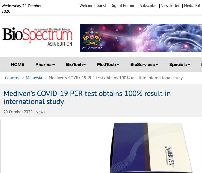Mediven®'s COVID-19 PCR Test Obtains 100% Result in International Study
